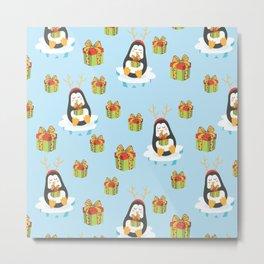 Happy Penguin with Christmas present Metal Print