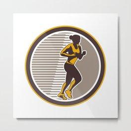 Female Marathon Runner Side View Retro Metal Print