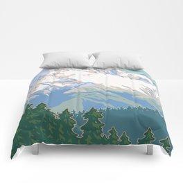 Vintage Mount Hood Travel Poster Comforters
