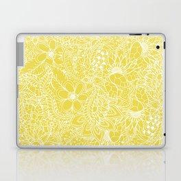 Modern trendy white floral lace hand drawn pattern on meadowlark yellow Laptop & iPad Skin