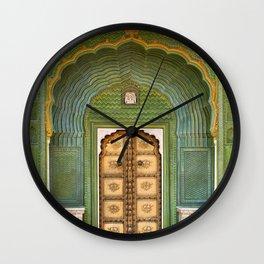 Green gate City Palace Jaipur, India Wall Clock