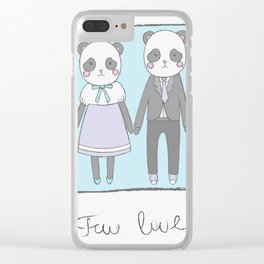 Pandas in love Clear iPhone Case