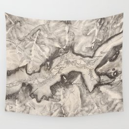 Vintage Map of Yosemite Valley (1870) Wall Tapestry