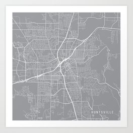Huntsville Map, Alabama USA - Pewter Art Print