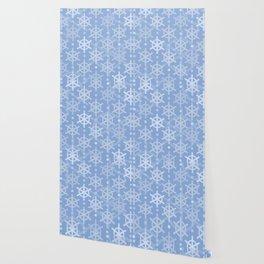Mid Century Modern Snowflakes Blue Wallpaper