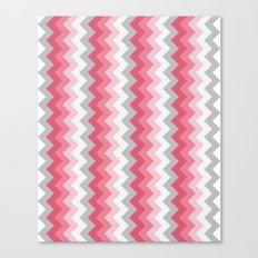 Chevron Pink & Grey Canvas Print