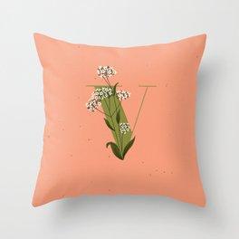 V for Verbena Throw Pillow