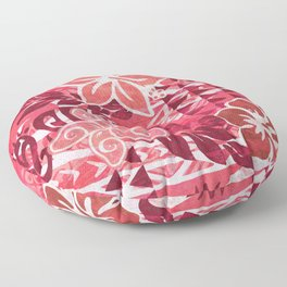 Red Hibiscus Polynesian Tapa Floor Pillow