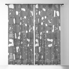 Black and white, day and night, dark and light, life contrasts, simple abstract texture design Sheer Curtain
