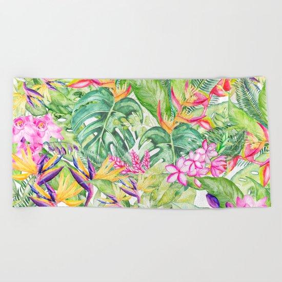 Tropical Garden 1A #society6 Beach Towel