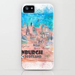 Edinburgh Scotland Illustrated Map with Main Roads Landmarks and Highlights iPhone Case