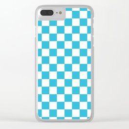 Gingham Vivid Arctic Blue Checked Pattern Clear iPhone Case