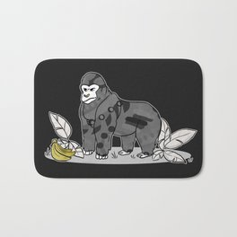 Gorilla & Bananas,Funny Wild Animal Graphic,Black & White with Brass Gold Metallic Accent Cartoon Bath Mat