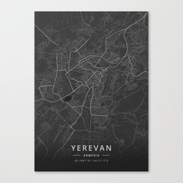 Yerevan, Armenia - Dark Map Canvas Print
