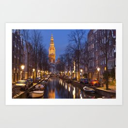 Church and a canal in Amsterdam at night Art Print