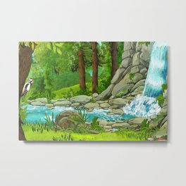 Waterfall and Nature Metal Print