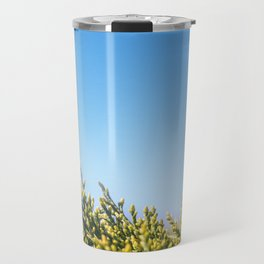 Blue sky copy space square background with coniferous fir tree Travel Mug