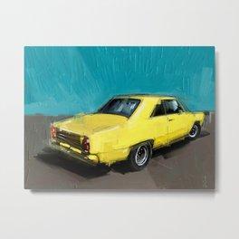 yellow datsun Metal Print