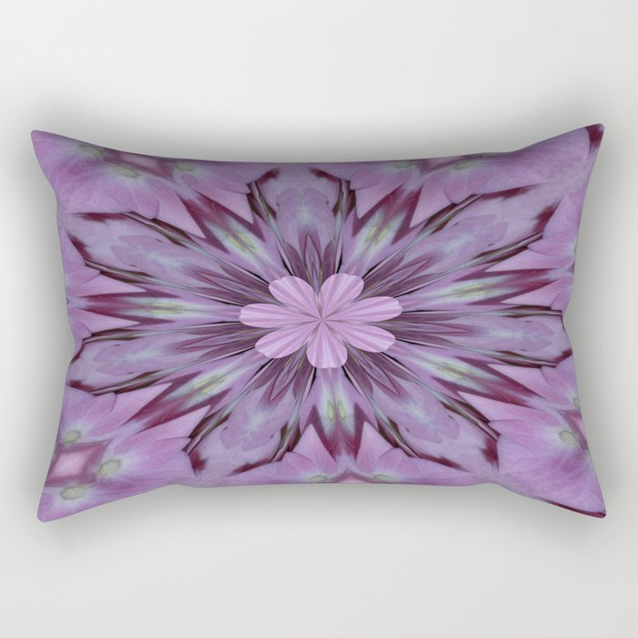 Floral Abstract Of Pink Hydrangea Flowers Rectangular Pillow