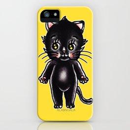 Black Cat Kewpie iPhone Case