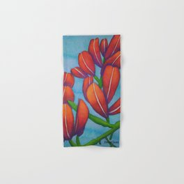 Botanical Painting with Reds and Blues Hand & Bath Towel