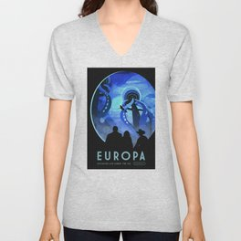 Europa Space Travel Retro Art Unisex V-Neck