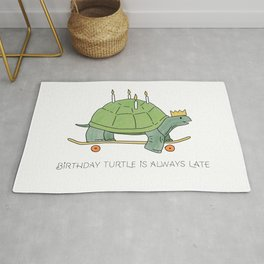 Skateboarding Birthday Turtle is always late like a happy candle cake Rug