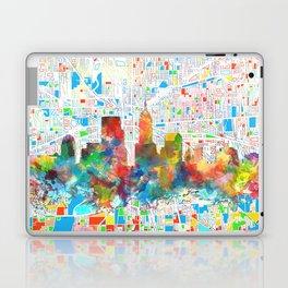 indianapolis city skyline watercolor 6 Laptop & iPad Skin