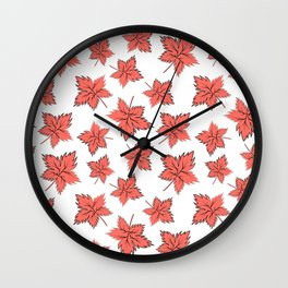 Maple leaves red Wall Clock
