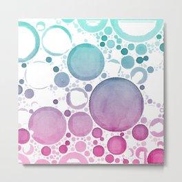 Watercolour Bubbles Metal Print