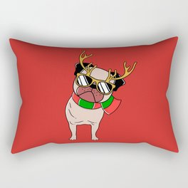 Christmas pug Rectangular Pillow