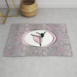 Dance Collection in Delicate Pink and SIlver Glitter Design Rug