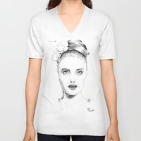 cara delevingne V-neck T-shirts featuring Cara Delevingne by Rillwatermist