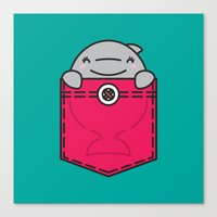 pocket Canvas Prints featuring Pocket Dolphin by Steven Toang
