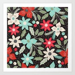 Folk Christmas Poinsettias Art Print