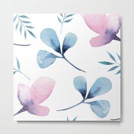 Romantic Watercolor Floral Print Metal Print