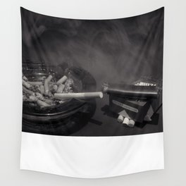 Cigarette Smoke Black and White Photo Wall Tapestry