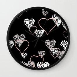 Polka dot pattern, retro, black and white Wall Clock