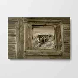 Sepia Photo of an Old Farm Wagon viewed through a Barn Window Metal Print