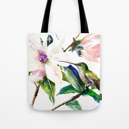 Hummingbird and Magnolia Flowers, Green Soft Pink floral design vintage style Tote Bag