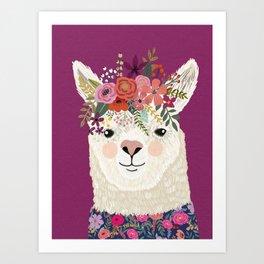 Alpaca with flowers on head. Purple Art Print