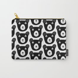 Cute black and white bear illustration Carry-All Pouch