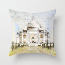 Taj Mahal, India Throw Pillow