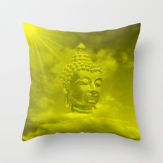buddha in colored clouds with artificial sun Throw Pillow