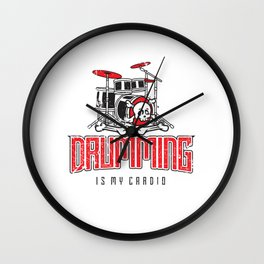 Drumming Is My Cardio Drum Set Drummer Player Wall Clock