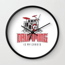 Drumming Is My Cardio Drum Set Drummer Player Wall Clock