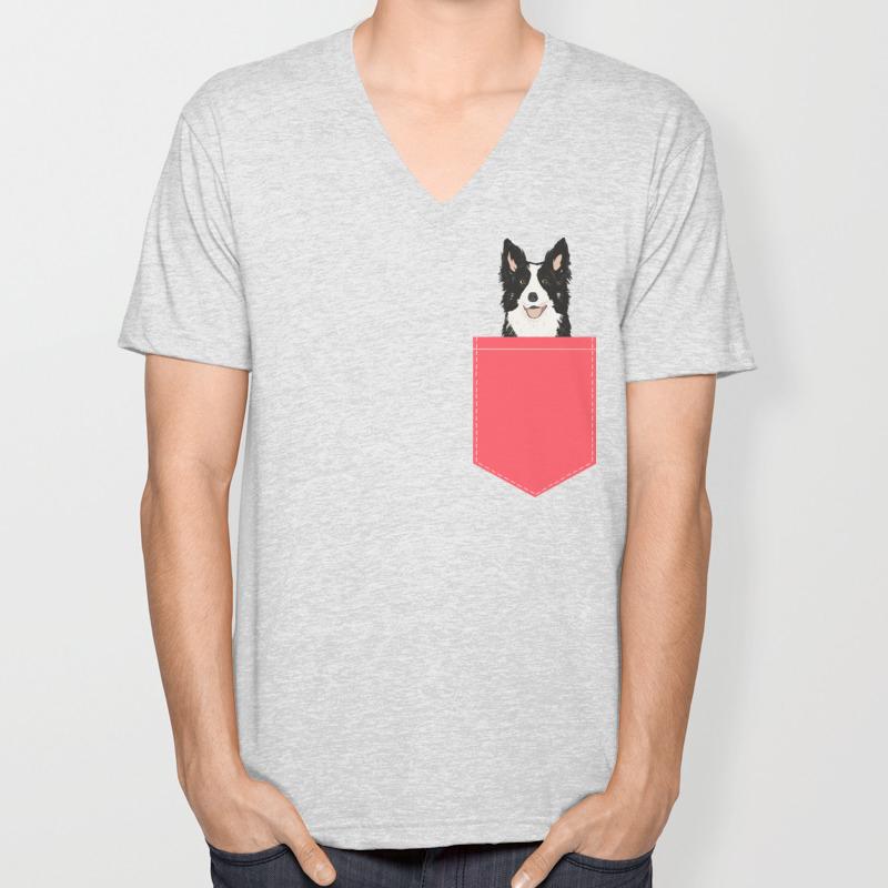 Working Border Collie Dog Breed T-Shirt V Neck Style Women/'s /& Men/'s Sizes