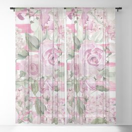 Country chic watercolor pastel green pink geometric floral Sheer Curtain