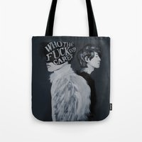 kpop Tote Bags featuring Who The F**k by Julia C. Elliott