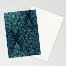 Black & Aqua Protea Doodle Pattern Stationery Cards
